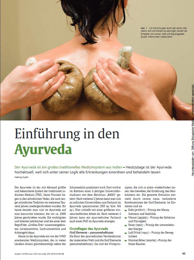 Fachartikel Einführung in den Ayurveda